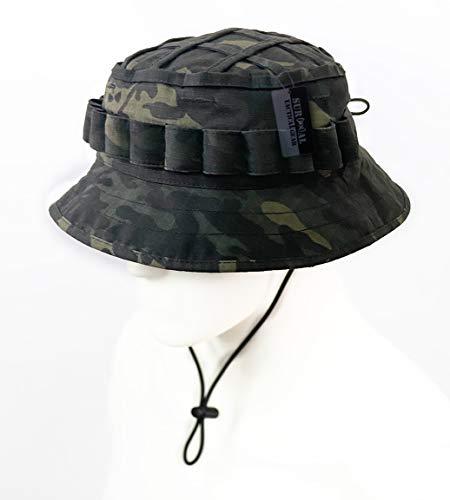 ZAPT Boonie Hut Military Camo Cap Hunter Sniper Ghillie Bucket Hüte Verstellbare Dschungel Buschhut - Schwarz - Einheitsgröße