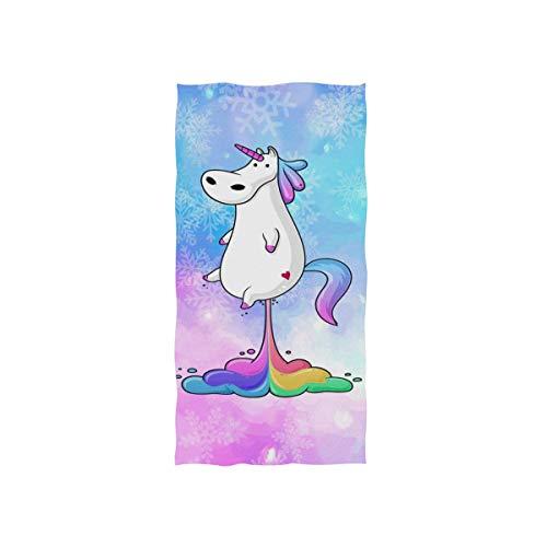linomo - Toalla de Mano, diseño de Unicornio hippotamus y Sirena, Toalla de algodón, Toalla de Cara, Toalla para niños, niñas, niños y Adultos