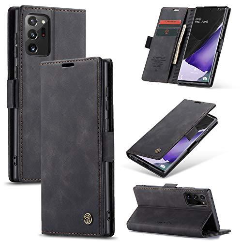 KONEE Hülle Kompatibel mit Samsung Galaxy Note 20 Ultra, Lederhülle PU Leder Flip Tasche Klappbar Handyhülle mit [Kartenfächer] [Ständer Funktion], Cover Schutzhülle für Galaxy Note20 Ultra - Schwarz