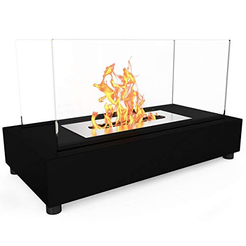 Regal Flame Avon Ventless Indoor Outdoor Fire Pit Tabletop Portable Fire Bowl Pot Bio Ethanol Fireplace in Black - Realistic Clean Burning like Gel Fireplaces, or Propane Firepits