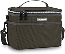 Insulated Lunch Box for Women Men, Leakproof Thermal Reusable Lunch Bag with 4 Pockets for Adult & Kids, Lunch Bag Cooler Tote for Office Work by Tirrinia, Black Checkered