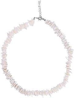 Mujer Concha Blanca Chips de almeja puka Collar de Concha Collar Gargantilla con Cadena extendida para niñas Hombres Hombres Mujeres Niños Nativo Rose Hawaiian Beach Ajustable Collar