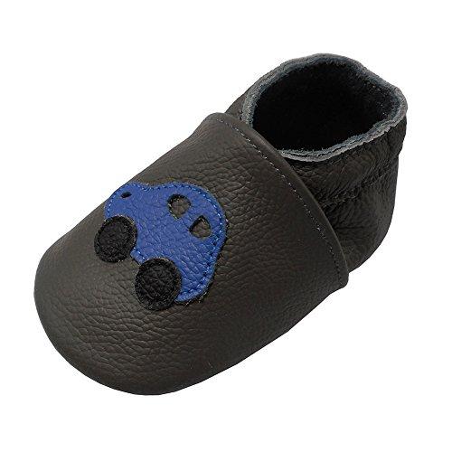 Yalion - Zapatos de piel suave para bebé y bambú, para bebé o niño, (gris oscuro), 18-24 mois
