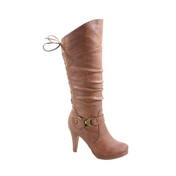 TOP Moda Womens Page-65 Knee High Round Toe Lace-Up Slouched High Heel Boots 3