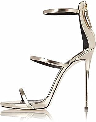 Amy Q Womens Open Toe Heel High Sandals Big Size Handmade Party Dress Shoes