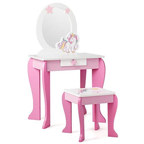COSTWAY Tocador con Taburete y Espejo para Niña Mesa de Maquillaje con Cajón Tocador Princesa de Madera para Niñas de 3-7 Años (Rosa)
