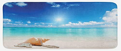 Ambesonne Seashells Kitchen Mat, Seashells and Pearls on Sandy Beach Tropical Ocean Dreamiest Coastal Charm, Plush Decorative Kitchen Mat with Non Slip Backing, 47' X 19', Turquoise Cream