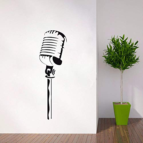 Gtfzjb Vinyl Muurtattoo Microfoon Muursticker Muziek Zanger Karaoke Rock Pop Afneembaar behang Home Decoration muziekstijl AY300 42x133cm