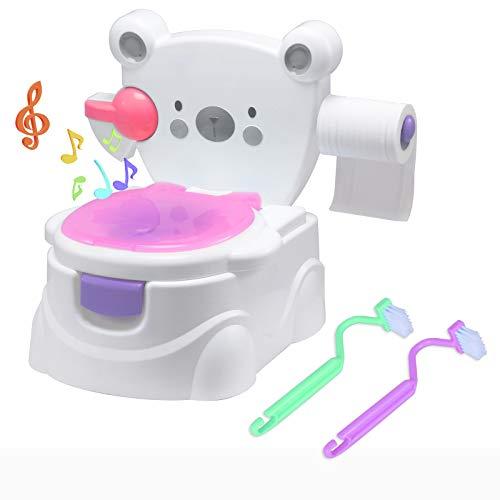 Voilamart Toilettentrainer mit Musik Kidskit Kindertopf Töpfchen Kindertoilette Kindertopf Kindertopf Lerntöpfchen,Ab ca. 6 Monate (mit Bär Muster, Rosa)