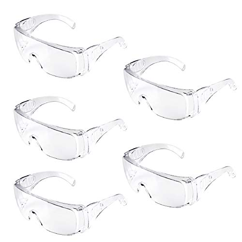 5Packs Safety Glasses Safety Goggles Protective Eyewear with Universal Fit and Clear View Polycarbonate Impact Resistant Lens Antifog AntiScratch Light Weight