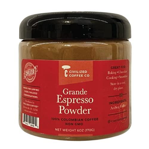 Civilized Coffee Grande Espresso Powder for Baking & Smoothies Non-GMO, Gluten Free, 100% Arabica Coffee Jar (6 oz)