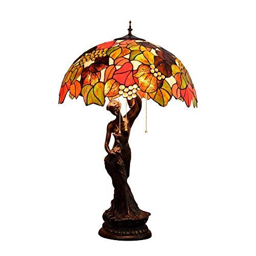 AI LI WEI Große Lampe, Dead Leaves Green Leaf Glass Shade Schreibtischlampe, Jahrgang Dekoration Nacht/Nachtlicht mit...