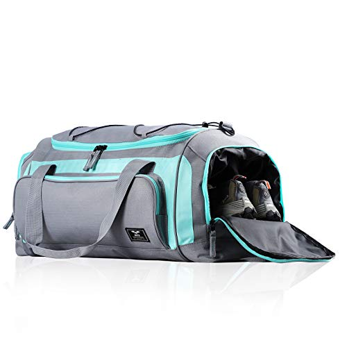 MIER Large Duffel Bag Men's Gym Bag with Shoe Compartment (Grey/Green)