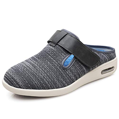 Unisex Diabetic Slippers, Men Swollen Slippers Adjustable Wide Fit Sandal Ladies Walking Sandal Arthritis Edema House Shoes Summer,gray,44