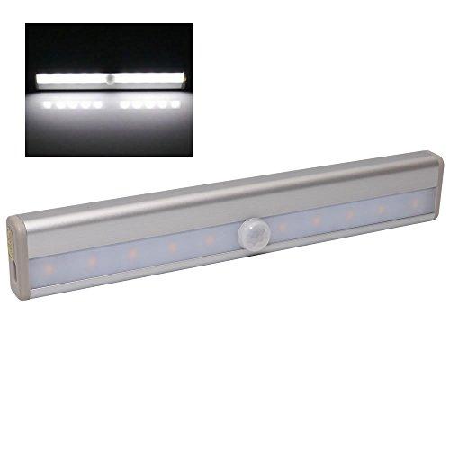 人感 センサーライト LEDライト バッテリー内蔵 自動点灯 消灯 充電式 簡単取付 照明 トイレ 玄関 クローゼット (昼白色) PR-USB0406-WH