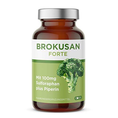 BROKUSAN Sulforaphan Brokkoli Kapseln I Hochdosiert Brokkolisprossen Extrakt mit Piperin I Kein Pulver Braunglas (120 Kapseln)