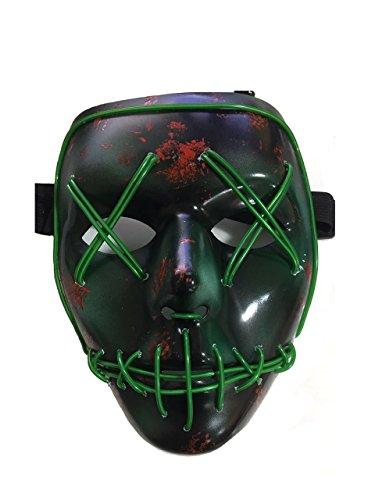 NIGHT-GRING Frightening EL Wire Halloween Cosplay llevó la máscara de la máscara de la luz para Las Fiestas del Partido Verde - 1pc