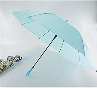 HKXR Semi-Automatic Transparent Umbrellas for Protect Against Wind and Rain Long-Handle Umbrella Clear Field of Vision (Color : Sky Blue)