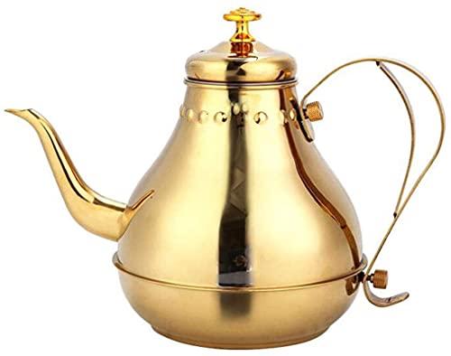 Stovetop Hervidor de acero inoxidable engrosamiento para té, café, inducción de gas, cocina universal de 2 colores (capacidad: 1,8 L, color: oro)