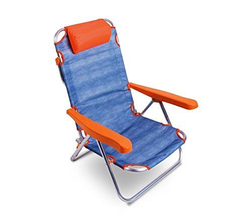 MEDIA WAVE store Spiaggina Alluminio Arancione Totalmente reclinabile ONSHORE 379837 con braccioli Cuscino