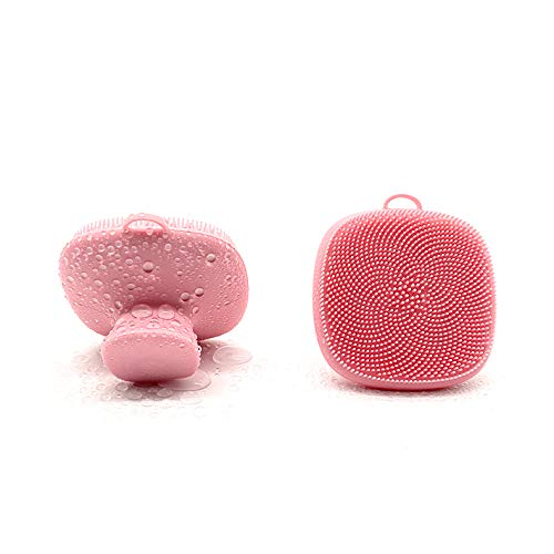 INKERLEE Soft Silicone Manual Facial Cleansing Brush, Gentle Face Exfoliating and Massage Scrubber, Antislip Handheld Wash Exfoliator Pad for Normal, Dry, Sensitive Face Skin Care Clean Pore Blackhead