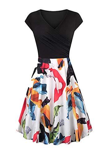 EFOFEI Womens Wrap Work Kleid Cocktailkleid Bedrucktes Kleid mit V-Ausschnitt, M, Z-blumen Blatt Weiß