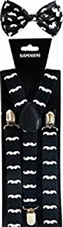 Scott Allah design Mens Accessories Mustache SUSPENDERS and BOW TIE COMBO SET Unisex Adjustable Suspender Bowtie