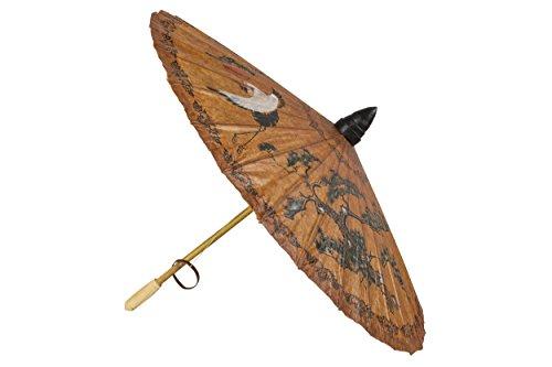 Handbemalter Schirm aus Thailand, Dekoschirm braun Sonnenschirm