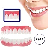 MIAOZHANG Teeth Comfort Fit Flex Cosmetic Teeth Denture Teeth Top Cosmetic Veneer Simulation Braces 2 Pairs (Bottom +Top) Perfect Smile Teeth
