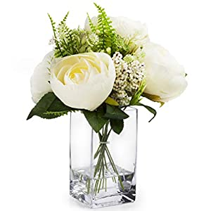 Enova Home Mixed Silk Peony Flower in Glass Vase with Faux Water for Home Wedding Centerpiece Decoration (Cream)