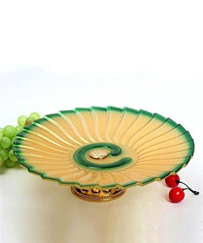 KKCFPAN Cristal européenne créativité de haute qualité plaque de fruits secs assiette de fruits (couleur : Vert)