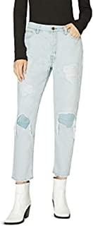 Sanctuary Tapered Straight Reinforced Ripped Jeans, Size 24 - Blue
