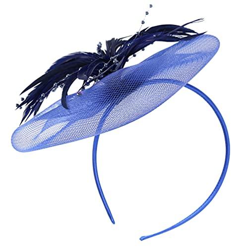 ABOOFAN Sombreros de Fiesta de Té de Red de Plumas de Flores Elegantes Sombreros para La Cabeza Elegantes Diademas de Boda de Cóctel para Mujer Chica Azul Oscuro