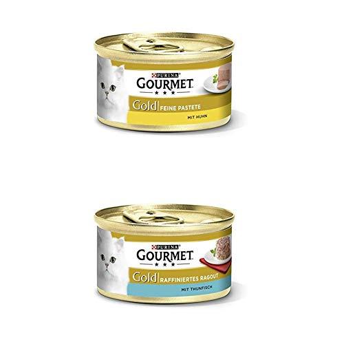 Gourmet Gold Katzenfutter 24er Mix-Pack (2 x 12 x 85g) Pastete mit Huhn und Ragout Thunfisch
