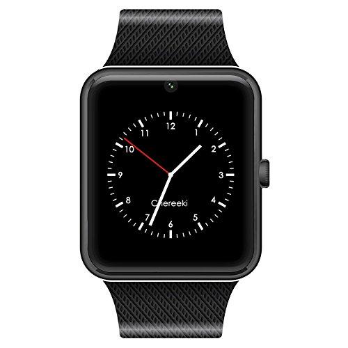 CHEREEKI Bluetooth Smartwatch con camera supporta SIM Card TF Card Braccialetto del pedometro Smartwatch dello schermo di tocco del telefono per gli smartphone Android