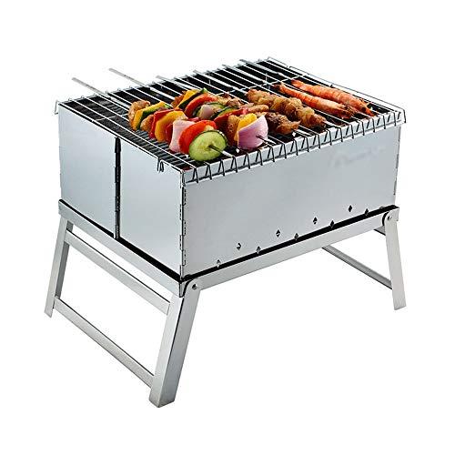 Gril de ménage extérieur en Acier Inoxydable Barbecue à Charbon de Bois Barbecue Mini étagère Portable 3-5 Personnes Utiliser GW