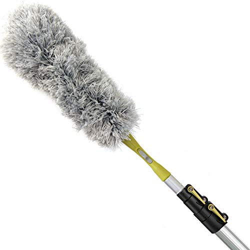 DocaPole 5-12 Foot Extension Pole + Microfiber Feather Duster // High Reach Dusting Kit for Dusting High Ceilings and Surfaces with Telescopic Pole // Telescoping Pole for Dusting
