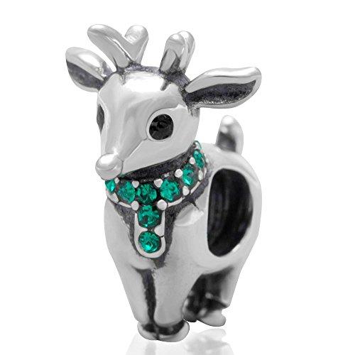Charm in argento Sterling 925 con renna, per braccialetti Pandora