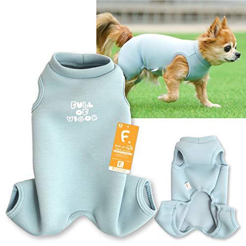 犬猫の服 full of vigor_ロゴプリントダンボールニットつなぎ_7/ブルー_NL_小型犬・ダックス用