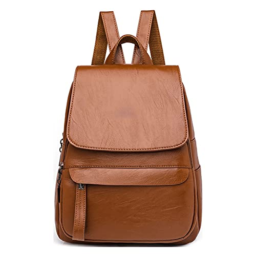 TEBIEAI Women's Backpack Handbags Ladies Rucksack Shoulder Bags PU Leather Mini Anti-theft Dayback TEUK83064 Brown