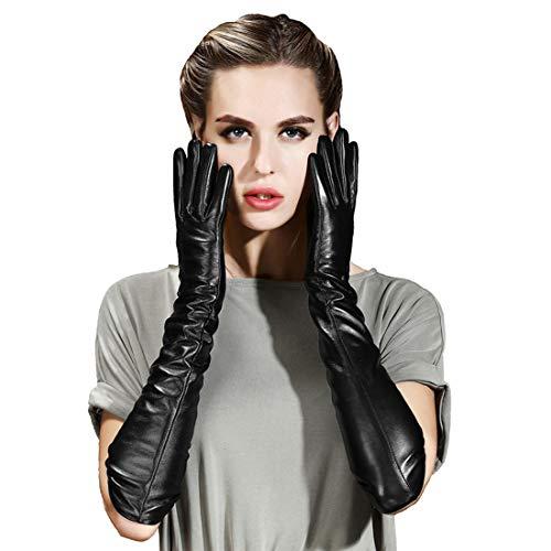 Vocono - Guantes largos de cuero para mujer, con pantalla táctil para invierno, vestido de noche, guantes de conducción - Negro - Large