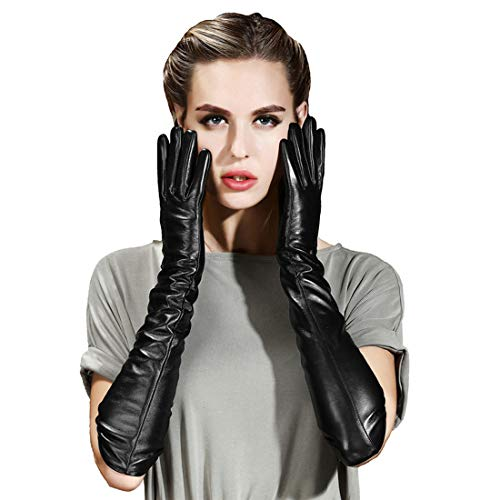 QECEPEI Womens Long Leather Gloves Winter Touchscreen Opera Evening Dress Driving Gloves L
