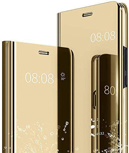 NEINEI Hülle für Oppo Realme 8 Pro/Realme 8,Luxus Spiegel Flip Handyhülle,Stoßfest Ledertasche Transparent Schutzhülle mit Standfunktion,Smart Clear View Mirror Hülle Cover,Gold