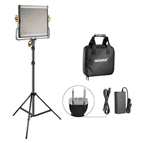 Neewer 調光可能な二色480 LEDビデオライトとライトスタンド照明キット Uブラケット付きの3200K-5600K CRI 96+ LEDパネル 調節可能なライトスタンド YouTubeスタジオ撮影とビデオ撮影用