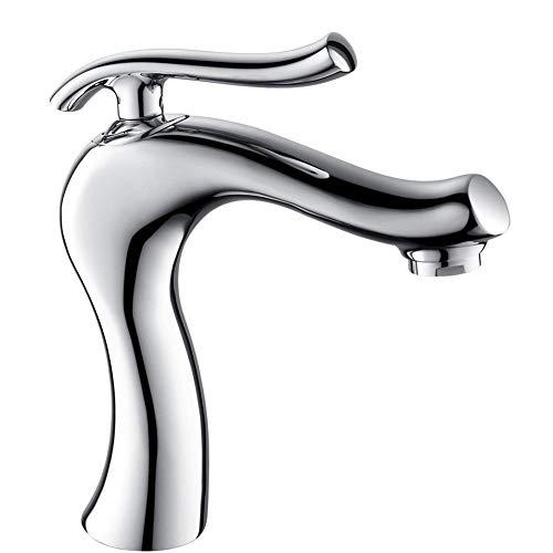 BFDMY Einhebel Bad Wasserhahn Mischbatterie Waschtischarmatur Waschbecken Armatur Heißes Und Kaltes Wasser Mischbatteri Messing Armatur Europäischen Stil,Chrome Faucet