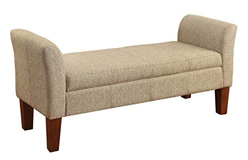 Storage Bench with Armrest on both ends Tan and Brown