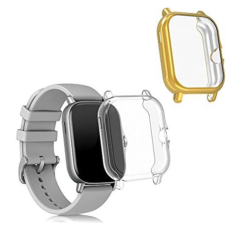 kwmobile Set 2X Compatibile con Huami Amazfit GTS 2 / 2e Cover Protettiva - Custodia Full Body Smartwatch - in Silicone - Oro/Trasparente