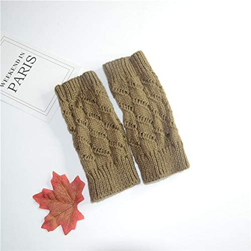 Winter Gloves Unisex Wool Gloves Warm Fingerless Cold Casual Wool Gloves (Color : Khaki, Size : One Size)