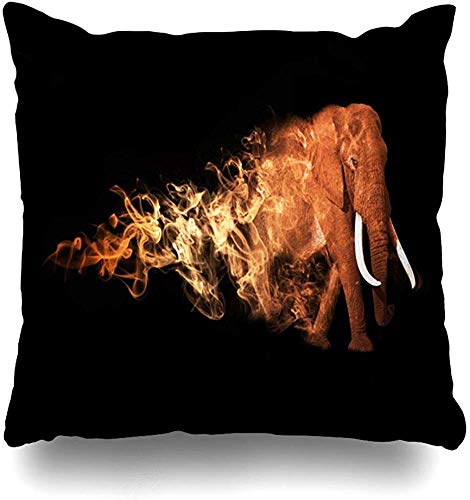 Throw Pillow Case Manipulation Brown Surreal Elephant African Safari Beast Tattoo Africa Big Black Design Park Home Decor Pillow Cover Square Zippered Pillowcase 18x18 Inch