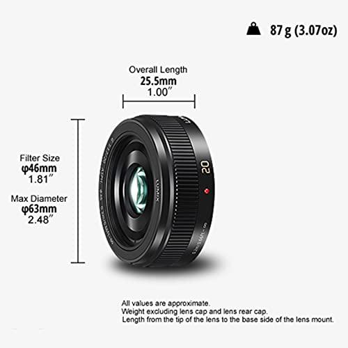 Panasonic H-H020A LUMIX G Festbrennweiten 20mm F1.7 II ASPH. Objektiv (Pancake Objektiv, Filtergröße 46 mm, Bildwinkel 57°) schwarz